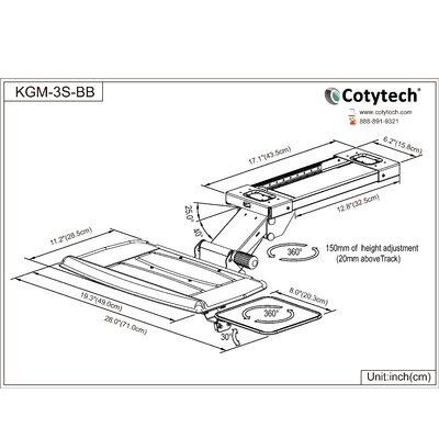 Cotytech Fully Adjustable Keyboard Mouse Tray Ball Bearing and Wrist Rest