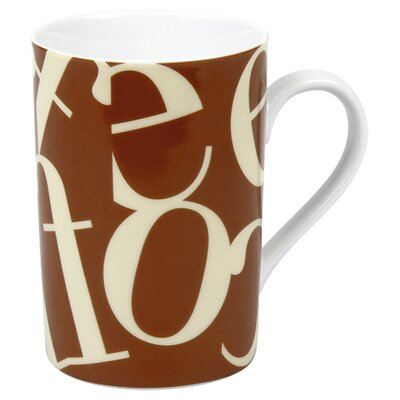 Konitz Coffee Shop Script Collage Mug in Beige and Brown