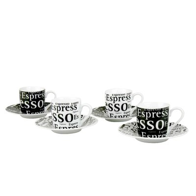 Konitz Assorted Espresso Writing Cup and Saucer in Black and White