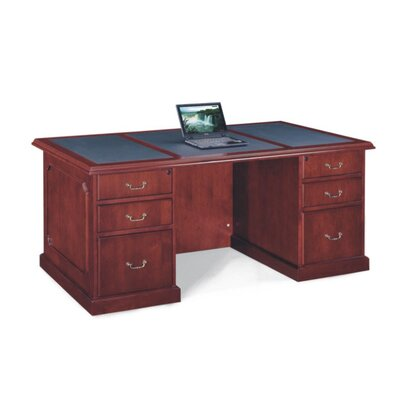 Absolute Office Heritage Leather-Look Top Executive Desk with Center Drawer