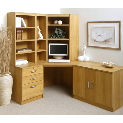 Home Office Solutions Computer Desk With Pedestal Cupboard And Bookshelves Wayfair Uk