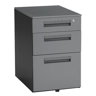 OFM Executive Series Mobile Pedestal File Cabinet with 3 Drawers in Dark Gray