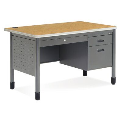 OFM Executive Series Single Pedestal Teacher's Computer Desk with Center Drawer