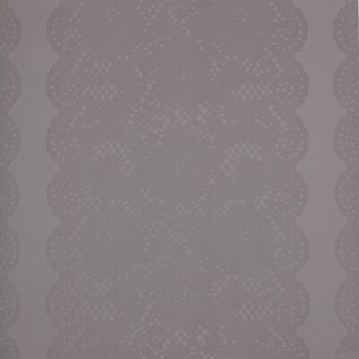 Barbara Becker Raised Surface Rose Lace Stripe With Scalloped Edges Wallpaper