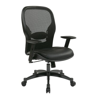 "Office Star Products Space 21.25"" Mesh Professional Breathable Back Chair with Eco Leather Seat"