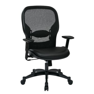 "Office Star Products Space Seating 21.25"" Professional Breathable Mesh Back Chair with Eco Leather Seat"