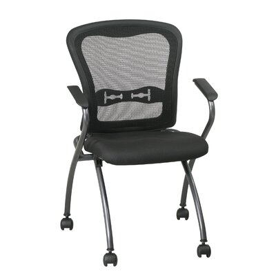 Office Star Products ProLine II Deluxe Folding Chair with ProGrid Back and Arms in Titanium (2-Pack)