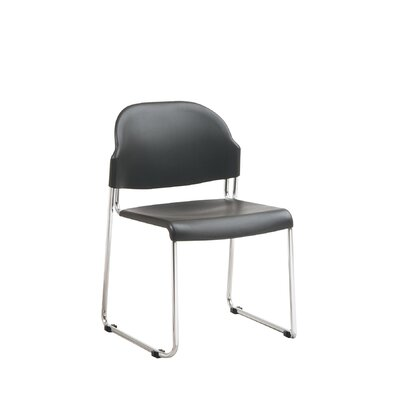 Office Star Products 4-Pack Stack Chair with Black Plastic Seat and Back with Chrome Frame (Set of 4)
