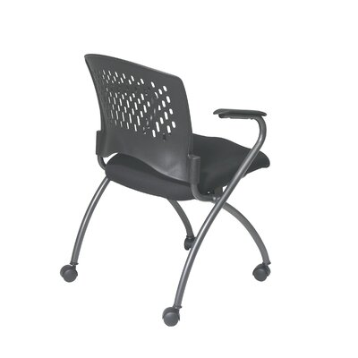 Office Star Products  ProLine II Deluxe Folding Chair with Plastic Back and Arms in Titanium (2-Pack)
