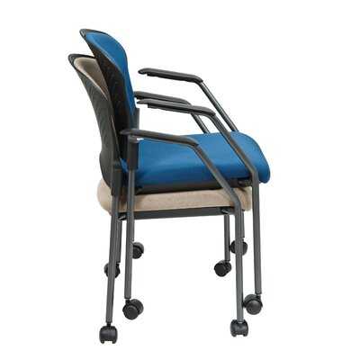 Office Star Products Titanium Finish Stacking Visitors Chair with Arms and Casters, FreeFlex Fabric