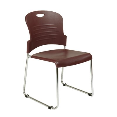 Office Star Products Burgundy Stack Chair with Sled Base with Plastic Seat and Back, Black, 4 Pack