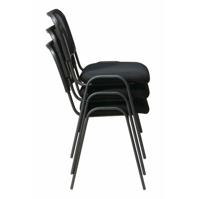 Office Star Products Work Smart Armless Stacking Chair in Black (Set of 4)