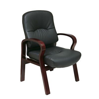 Office Star Products Leather Visitors Chair with Wood Base and Arms