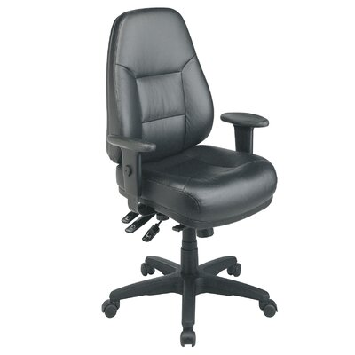 Office Star Products Deluxe Multi Function Mid-Back Leather Office Chair with Arms