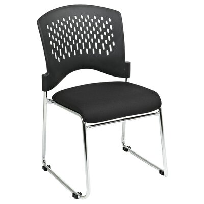 Office Star Products Plastic Back SpringFlex Fabric Seat Visitors Office Chair with Chrome Frame Sled Base, Gangable and Stackable (Set of 4)