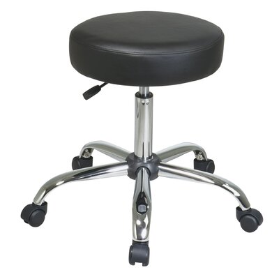 Chrome Finish Backless Drafting Chair with Vinyl Seat