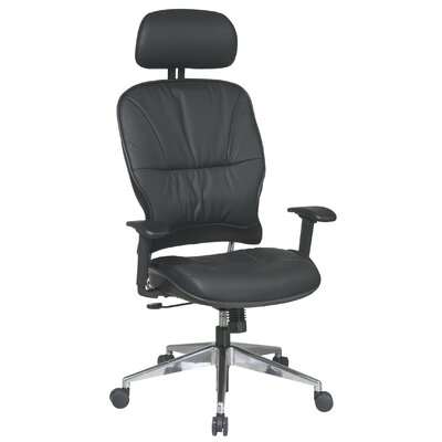 Office Star Products Space Seating Mid-Back Leather Managerial Chair with 2-Way Adjustable Headrest