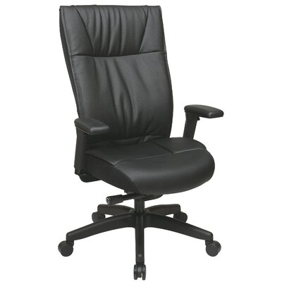 Office Star Products Space Seating Mid-Back Leather Contemporary Executive Chair
