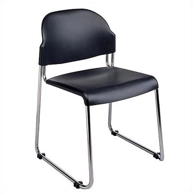 Office Star Products 2-Pack Stack Chair with Black Plastic Seat and Back with Chrome Frame
