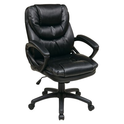 Office Star Products Faux Leather Managers Chair with Padded Arms