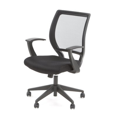 Office Star Products Screen Back Mesh Seat Task Chair with Fixed Designer Arms