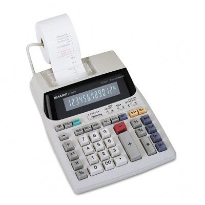 Sharp EL1801V Desktop Calculator, 12-Digit Fluorescent, Two-Color Printing