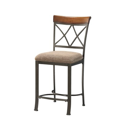 Powell Furniture Cafe Hamilton Counter Stool in Brushed Faux Medium Cherry
