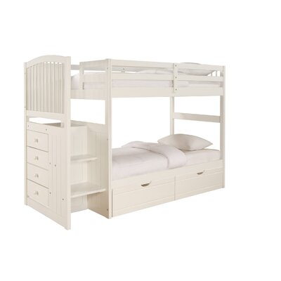 Powell Furniture Angelica Arch Spindle Chest End Twin over Twin Bunk Bed with Stairs