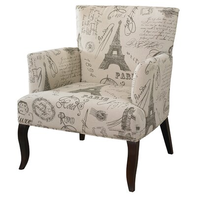 French Calligraphy Wingback Chair