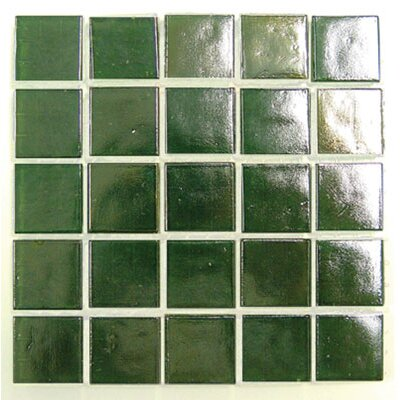 "Diamond Tech Tiles Platinum 12.5"" x 12.5"" Glass Mosaic in Light Green"
