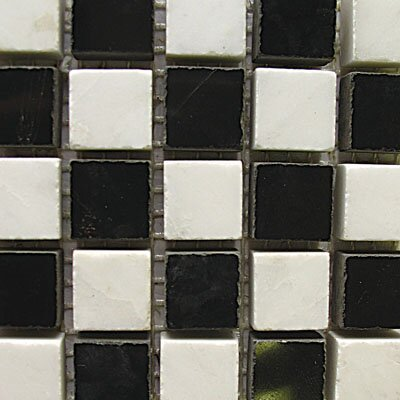 "Diamond Tech Tiles Stone 12"" x 12"" Mosaic in White Statuary and Black Marble"