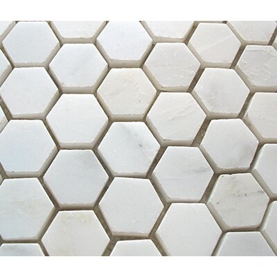 "Diamond Tech Tiles Stone 12"" x 12"" Polished Hexagon Mosaic in White Statuary"