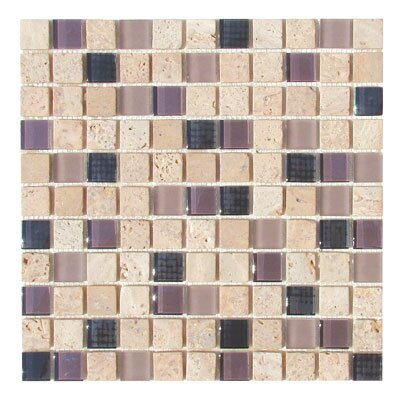 "Diamond Tech Tiles Travertine Glass 12"" x 12"" Mosaic in Exotic Plum"
