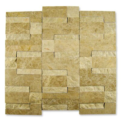 "Diamond Tech Tiles Contours 12"" x 12"" Doric Modular Split-Face Mosaic in Light Emperador"