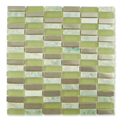 "Diamond Tech Tiles Impact 12"" x 11.75"" Glass, Tile, and Metal Mosaic in Green Tea Metal"