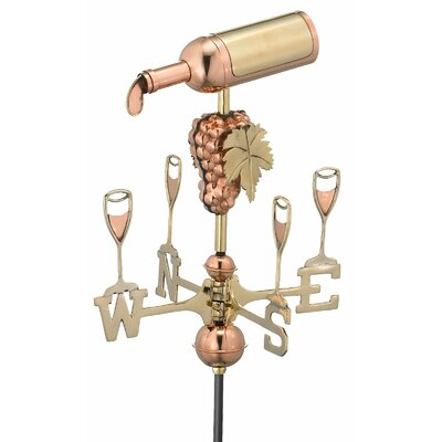 Wine Bottle Weathervane with Garden Pole