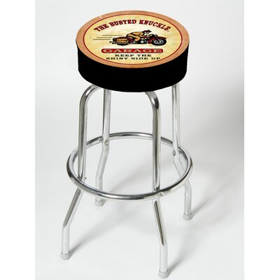 "Almost There Busted Knuckle Garage 25"" Swivel Bar Stool"