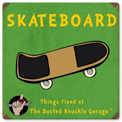 Almost There Busted Knuckle Garage Kid's Skateboard Sign