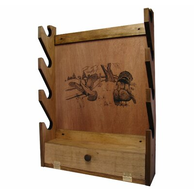 Evans Sports 4 Gun Wooden Rack with Turkey Print
