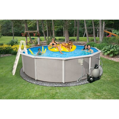 Round 52 deep 6 top rail belize metal wall swimming pool package wayfair for Deep above ground swimming pools