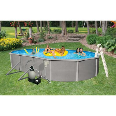 "Swim Time Belize Oval 52"" Deep, 6"" Top Rail Above Ground Pool Package"