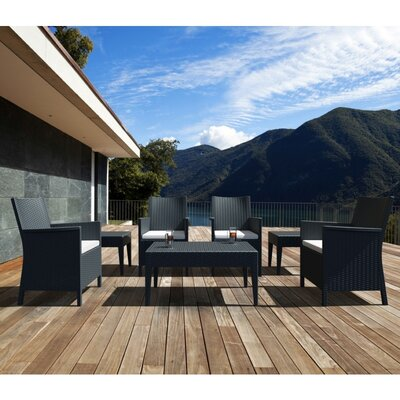 Compamia California Wickerlook 7 Piece Seating Set with Cushions