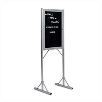 Marsh 369Double Pedestal Enclosed Directory Boards - Satin Aluminum Frame