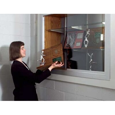 Marsh Series 70 Recessed Hinged Glass Door Trophy Cases - Plas-Cork (With Lighting)