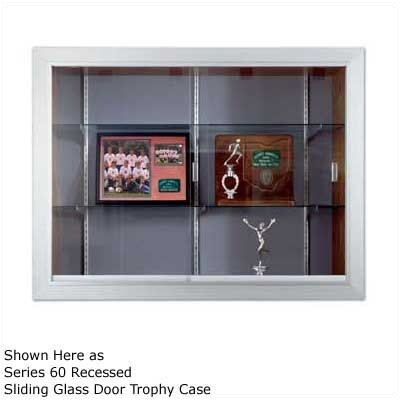 Marsh Series 70 Recessed Hinged Glass Door Trophy Cases - Natural Cork / Wood Veneer (With Lighting)