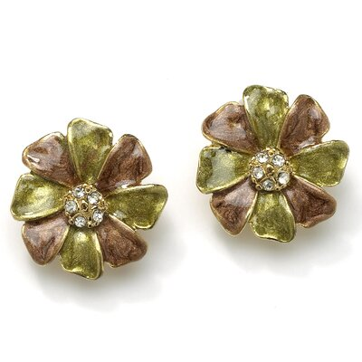 Goldtone Flower-Shaped Clip-On Earrings