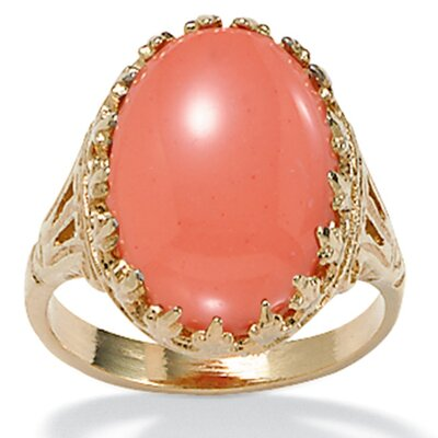 Gold Plated Simulated Coral Ring