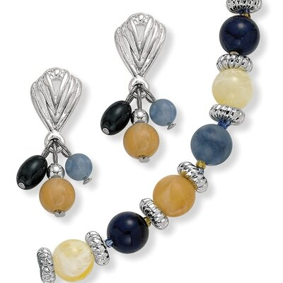 Silvertone Lucite Bead Necklace and Earring Set