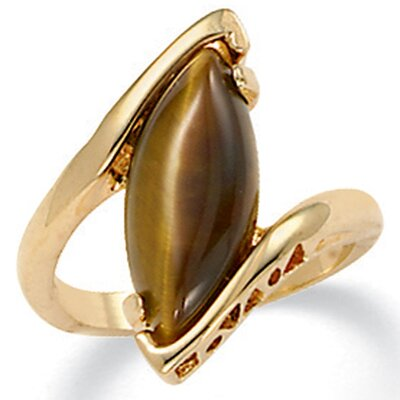 Palm Beach Jewelry Gold Plated tiger's-Eye Ring