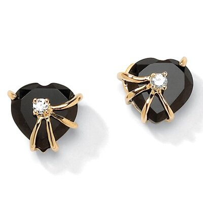 Gold Plated Onyx Heart Earrings
